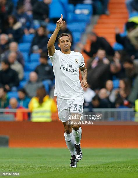 Danilo of Real Madrid celebrates after scoring during the La Liga match between Real Madrid CF and Rayo Vallecano at Estadio Santiago Bernabeu on...