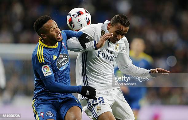 Danilo of Real Madrid competes for the ball with Theo Bongonda of Celta de Vigo during the Copa del Rey quarterfinal first leg match between Real...