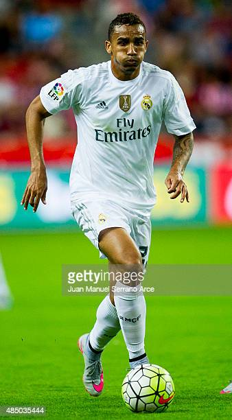 Danilo of Real Madrid controls the ball during the La Liga match between Sporting Gijon and Real Madrid at Estadio El Molinon on August 23 2015 in...