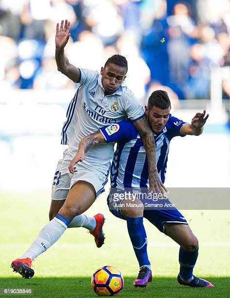 Danilo of Real Madrid duels for the ball with Theo Hernandez of Deportivo Alaves during the La Liga match between Deportivo Alaves and Real Madrid at...