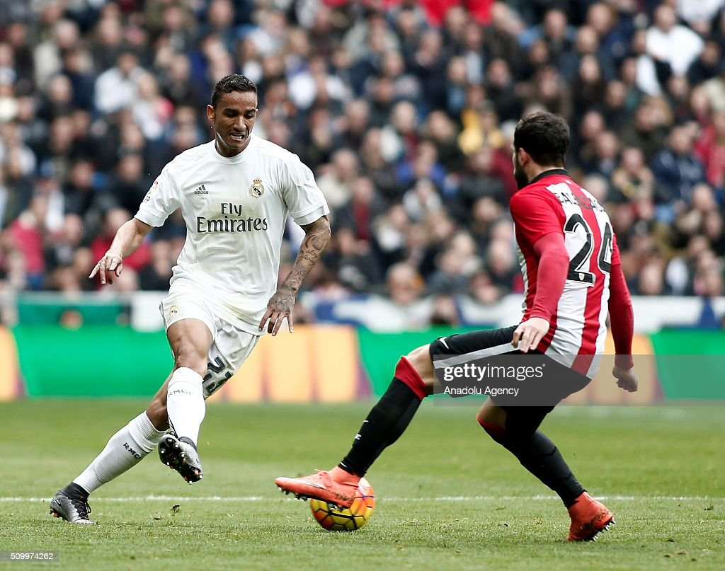 Danilo (L) of Real Madrid in action during La Liga Football match between Real Madrid and Athletic Bilbao at Santiago Bernabeu Stadium in Madrid, Spain on February 13, 2016.