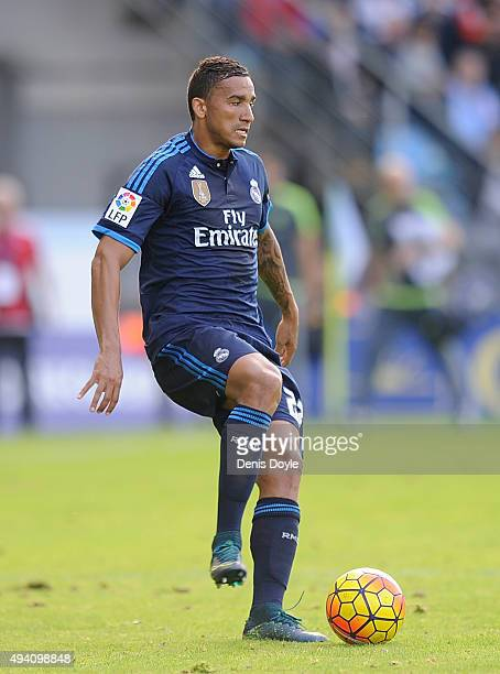 Danilo of Real Madrid in action during the La Liga match between Celta Vigo and Real Madrid at Estadio Balaidos on October 24 2015 in Vigo Spain
