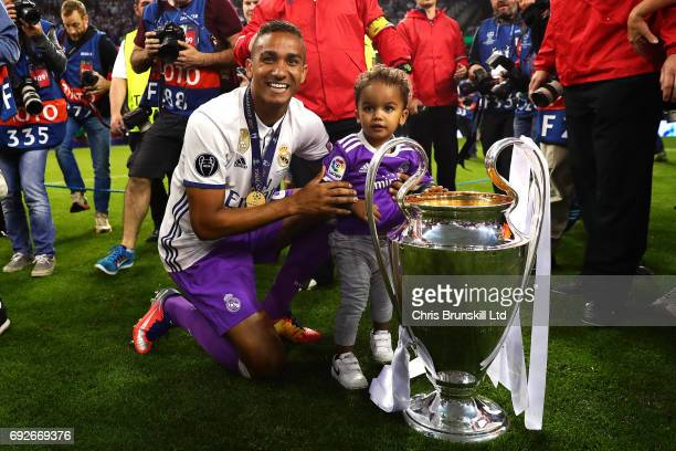 Danilo of Real Madrid poses with the trophy following the UEFA Champions League Final match between Juventus and Real Madrid at the National Stadium...