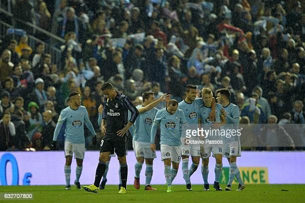 Danilo of Real Madrid reacts after Daniel Wass of Celta de Vigo scores a goal during the Copa del Rey quarterfinal second leg match between Real Club...
