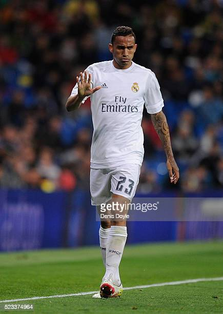 Danilo of Real Madrid reacts during the La Liga match between Real Madrid and Villarreal at Estadio Santiago Bernabeu on April 20 2016 in Madrid Spain
