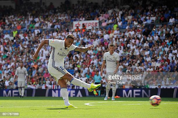Danilo of Real Madrid scores his team's 2nd goal during the La Liga match between Real Madrid CF and CA Osasuna at Estadio Santiago Bernabeu on...