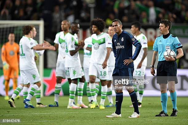 Danilo of Real Madrid shows his dejection after his team's 02 defeat in the UEFA Champions League Quarter Final First Leg match between VfL Wolfsburg...
