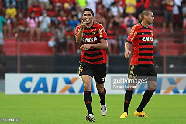 Danilo of Sport Recife celebrates his goal during the Brasileirao Series A 2014 match between Sport Recife and Criciuma at Ilha do Retiro Stadium on...