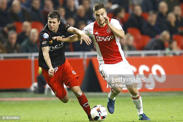 Danilo Pantic of Excelsior Joel Veltman of Ajax Amsterdamduring the Dutch Eredivisie match between Ajax Amsterdam and sbv Excelsior at the Amsterdam...