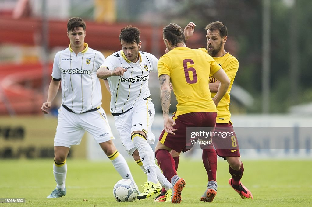 Danilo Pantic of Vitesse, Valeri Qazaishvili of Vitesse, Lukas Vacha of Sparta Praag, <a gi-track='captionPersonalityLinkClicked' href=/galleries/search?phrase=Marek+Matejovsky&family=editorial&specificpeople=3933822 ng-click='$event.stopPropagation()'>Marek Matejovsky</a> of Sparta Praag during the International friendly match between Sparta Praha and Vitesse Arnhem on July 14, 2015 at Galneukirchen, Germany.