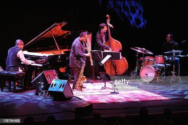 Danilo Perez Wayne Shorter John Patitucci and Brian Blade perform on stage at Barbican Centre on October 8 2011 in London United Kingdom