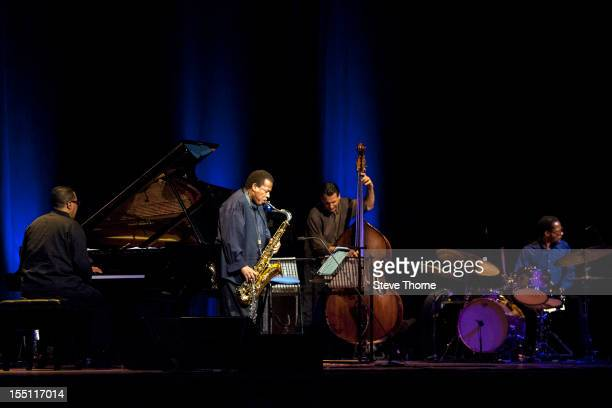 Danilo Perez Wayne Shorter John Patitucci and Brian Blade perform on stage with the Wayne Shorter Quartet at Birmingham Town Hall on November 1 2012...