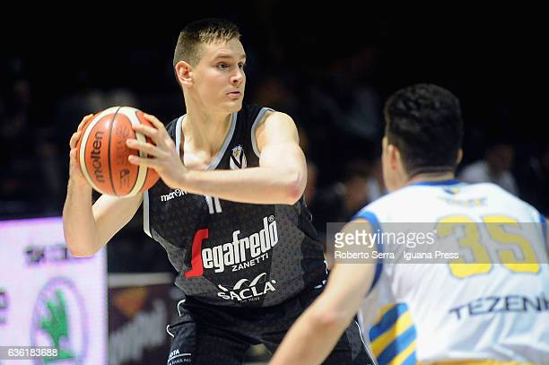 Danilo Petrovic of Segafredo competes with Leonardo Tote of Tezenis during the match of LNP LegaBasket Serie A2 between Virtus Segafredo Bologna and...