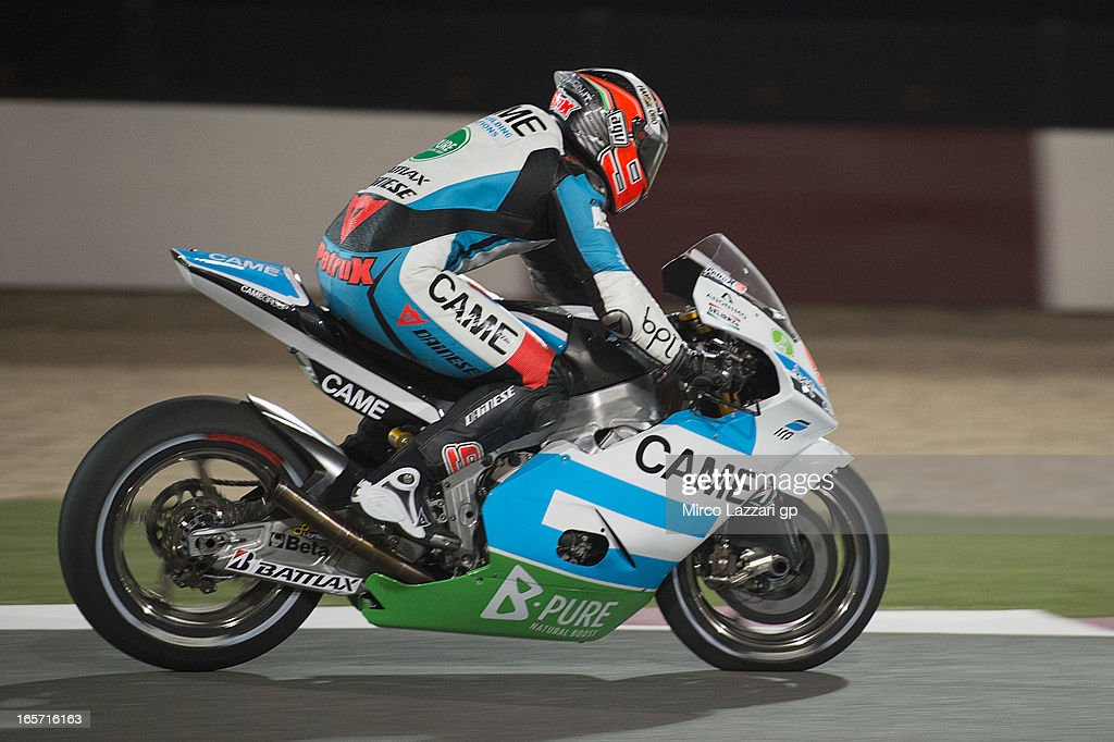 Danilo Petrucci of Italy and Came Iodaracing Project heads down a straight during the MotoGp of Qatar - Free Practice at Losail Circuit on April 5, 2013 in Doha, Qatar.