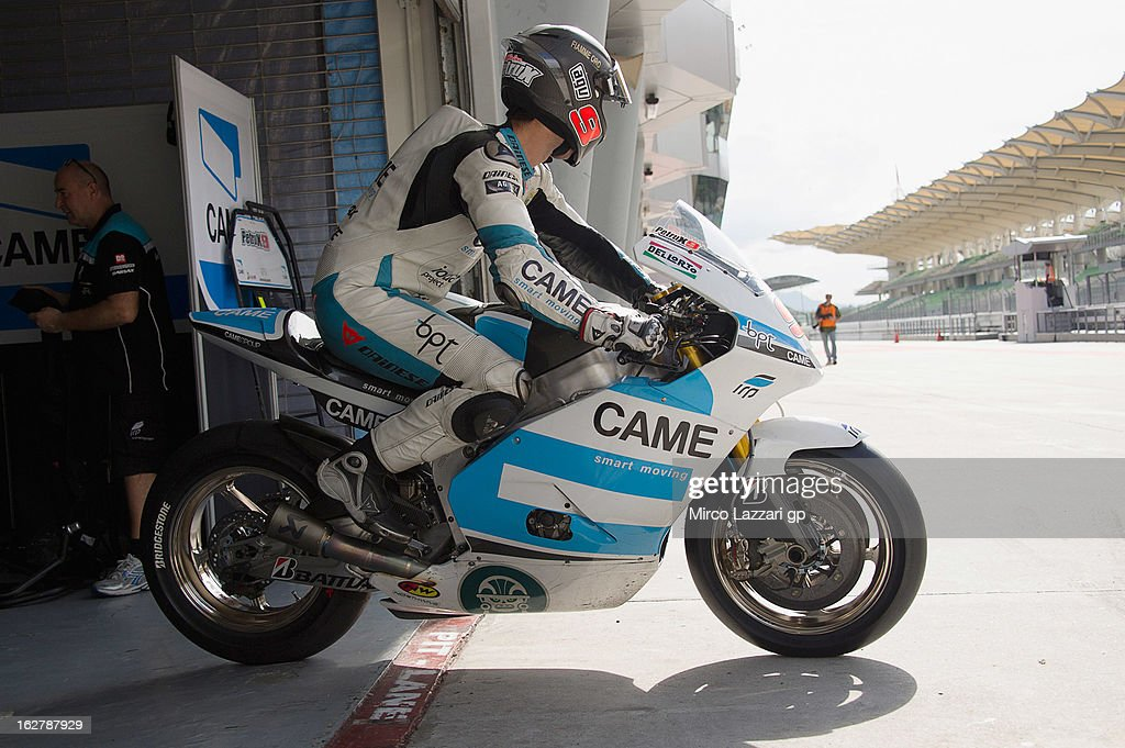 Danilo Petrucci of Italy and Came Iodaracing Project prepares to start from box during the MotoGP Tests in Sepang - Day Two at Sepang Circuit on February 27, 2013 in Kuala Lumpur, Malaysia.