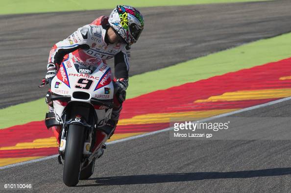 Danilo Petrucci of Italy and Octo Pramac Racing looks back and heads down a straight during the qualifying practice during the MotoGP of Spain...