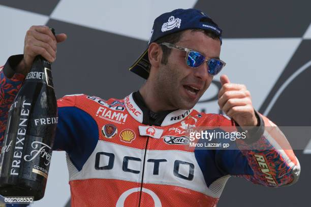 Danilo Petrucci of Italy and Octo Pramac Yakhnich celebrates the third place at the end of the MotoGP race during the MotoGp of Italy Race at Mugello...