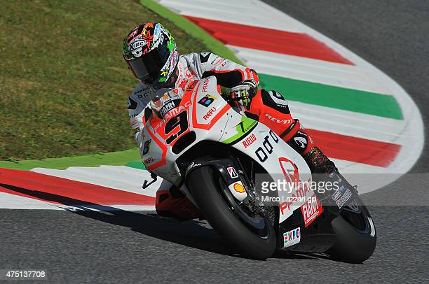 Danilo Petrucci of Italy and Pramac Racing rounds the bend during the MotoGp of Italy Free Practice at Mugello Circuit on May 29 2015 in Scarperia...