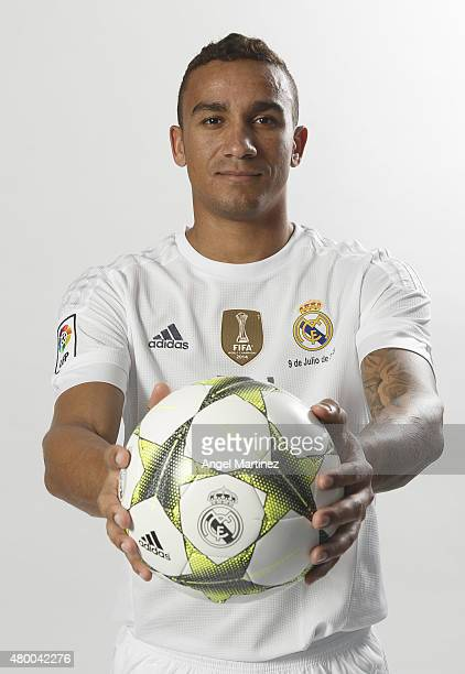 Danilo poses during his official presentation as a new Real Madrid player at Estadio Santiago Bernabeu on July 9 2015 in Madrid Spain