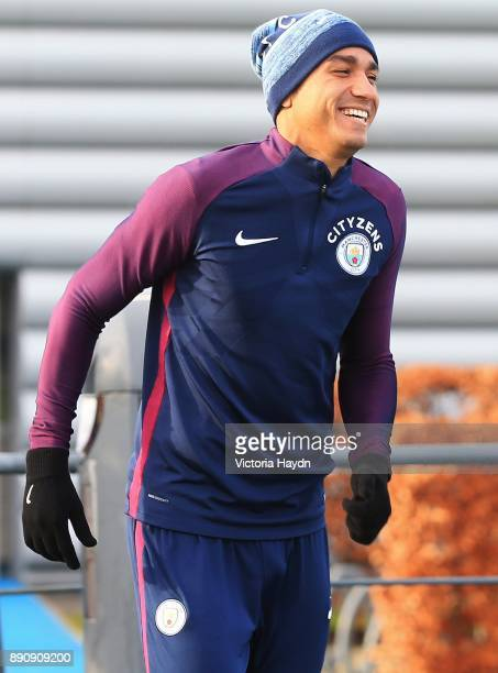 Danilo reacts during training at Manchester City Football Academy on December 12 2017 in Manchester England