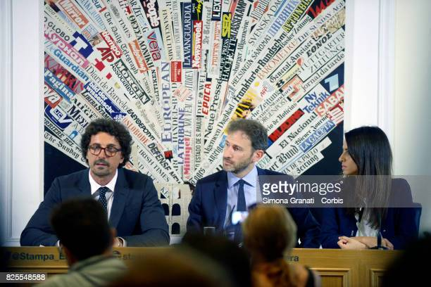 Danilo Toninelli Davide Casaleggio And Enrica Sabatini of 5 Star Movement Present New Version Of The Rousseau Platform To Foreign Media on August 2...