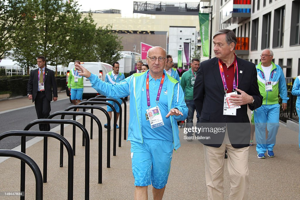 Danilo Türk, the President of Slovenia and Bogdan Gabrovec during a tour of the Olympic Village on Day 1 of the London 2012 Olympics Games on July 28, 2012 in London, England.