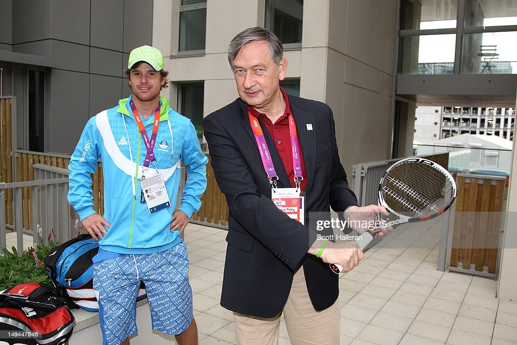 Danilo Türk, the President of Slovenia during a tour of the Olympic Village on Day 1 of the London 2012 Olympics Games on July 28, 2012 in London, England.