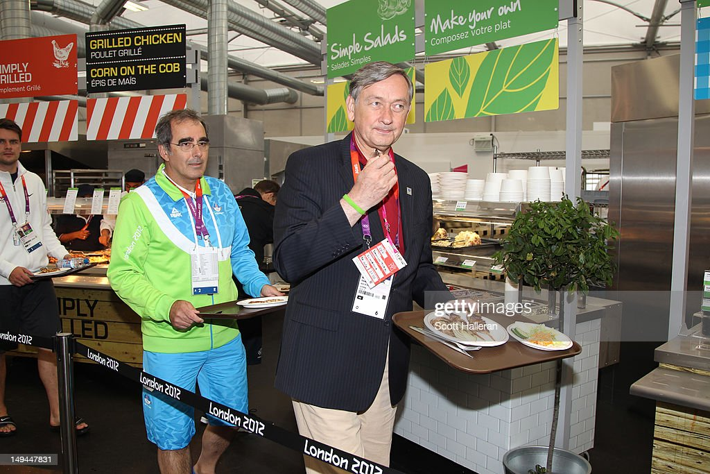 Danilo Türk, the President of Slovenia visits the main dining hall during a tour of the Olympic Village on Day 1 of the London 2012 Olympics Games on July 28, 2012 in London, England.