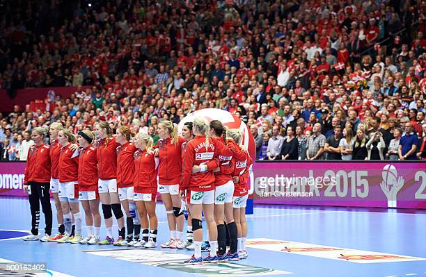 Danis players during line up prior to the 22nd IHF Women's Handball World Championship match between Denmark and Japan in Jyske Bank Boxen on...