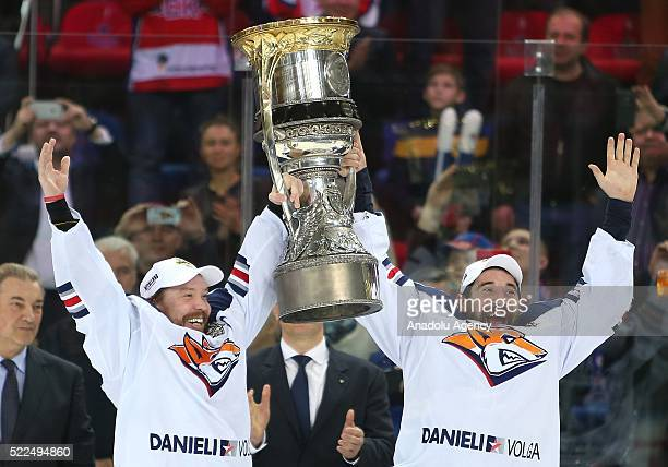 Danis Zaripov and Sergei Mozyakin players of Metallurg after a match between PHC CSKA HC Metallurg Metallurg celebrate winning the playoff finals...