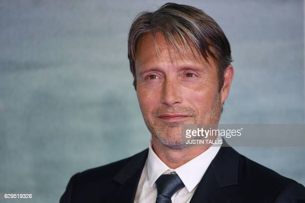 Danish actor Mads Mikkelsen poses upon arrival at the UK launch event of Lucasfilm's 'Rogue One A Star Wars Story' at the Tate Modern in central...