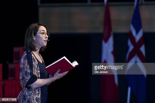 Danish actor Sofie Graabol reads a piece from the new translated Icelandic Sagas at 'The Black Diamond' during the ceremony where the visiting...