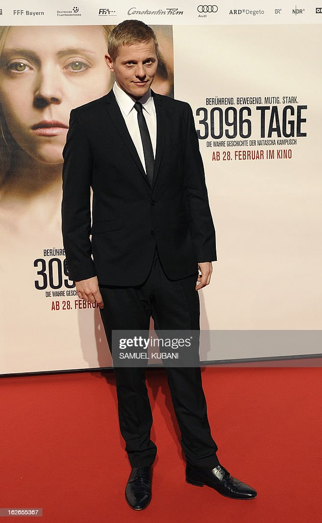 Danish actor Thure Lindhardt poses for photographers as he arrives for the premiere of the film '3,096 Days' based on the story of Austrian kidnap victim Natascha Kampusch on February 25, 2013 in Vienna. AFP PHOTO/SAMUEL KUBANI