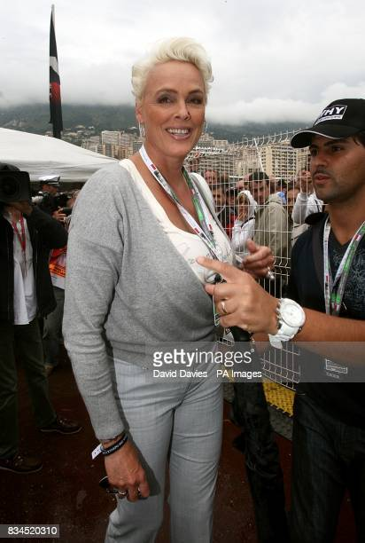 Danish actress Brigitte Nielsen in the paddock at the Circuit de Monaco ahead of the Monaco Grand Prix at Monte Carlo Monaco Picture date Sunday May...