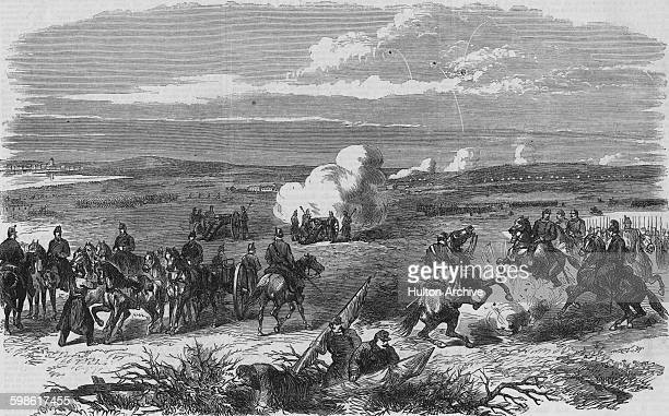 Danish artillery engage the Prussian troops in a skirmish near Fredericia during the Second Schleswig War part of the wars of German unification on...