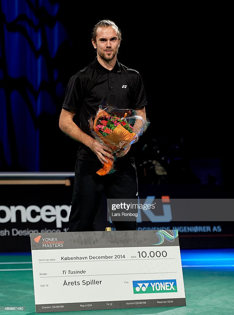 Danish Badminton Player of the Year 2014 Jan O Jorgensen receives his award during the Yonex Copenhagen Masters Badminton Finals at Falkonesalen on December 28, 2014 in Copenhagen, Denmark.