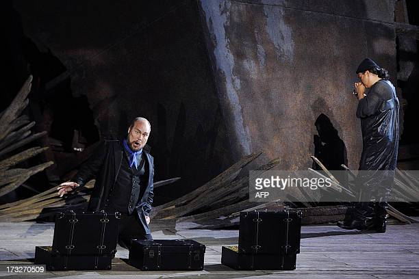 Danish bass Stephen Milling as 'Daland' performs during a rehearsal of German composer Richard Wagner's opera 'Der Fliegende Hollander' on July 10...