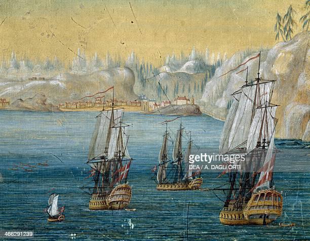 Danish boats in fjord in North Sea near Greenland by Mogensen Clementsen 18th century