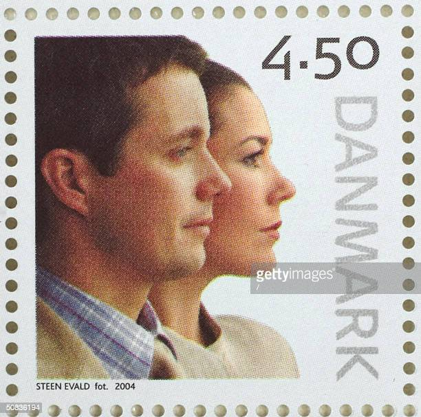 Danish Crown Prince Frederik and Australian Crown Princess to be Mary Donaldson featuring on a new stamp issued by the Post Danmark and the postal...