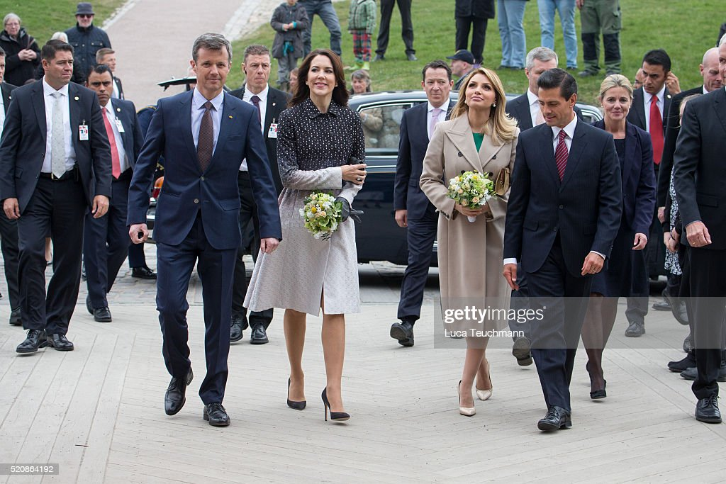 Danish Crown Prince Frederik and Crown <a gi-track='captionPersonalityLinkClicked' href=/galleries/search?phrase=Crown+Princess+Mary+of+Denmark&family=editorial&specificpeople=158374 ng-click='$event.stopPropagation()'>Crown Princess Mary of Denmark</a> greet Mexican President <a gi-track='captionPersonalityLinkClicked' href=/galleries/search?phrase=Enrique+Pena+Nieto&family=editorial&specificpeople=5957985 ng-click='$event.stopPropagation()'>Enrique Pena Nieto</a> and his wife <a gi-track='captionPersonalityLinkClicked' href=/galleries/search?phrase=Angelica+Rivera&family=editorial&specificpeople=4327597 ng-click='$event.stopPropagation()'>Angelica Rivera</a> during a visit from the United Mexican States on April 13, 2016 in Helsingor, Denmark.