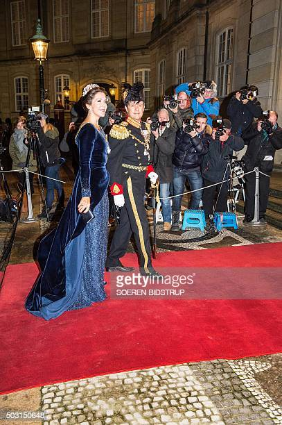 Danish Crown Prince Frederik and Crown Princess Mary arrive to the New Year's reception at the royal palace Amalienborg in Copenhagen January 1 2016...