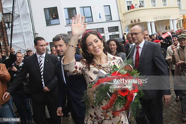 Danish Crown Prince Frederik and Crown Princess Mary who is pregnant with twins arrive at the main square on September 27 2010 in Stralsund Germany...