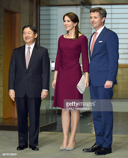 Danish Crown Prince Frederik and his wife Crown Princess Mary is welcomed by Japanese Crown Prince Naruhito upon their arrival for a dinner at the...