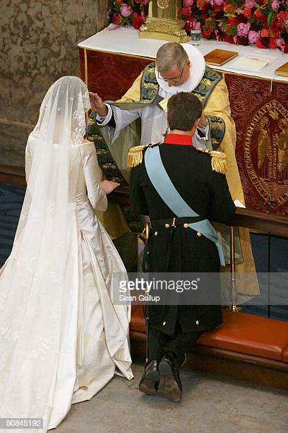Danish Crown Prince Frederik and Miss Mary Elizabeth Donaldson are married by Bishop Erik Normann Svendsen in Copenhagen Cathedral on May 14 2004 in...