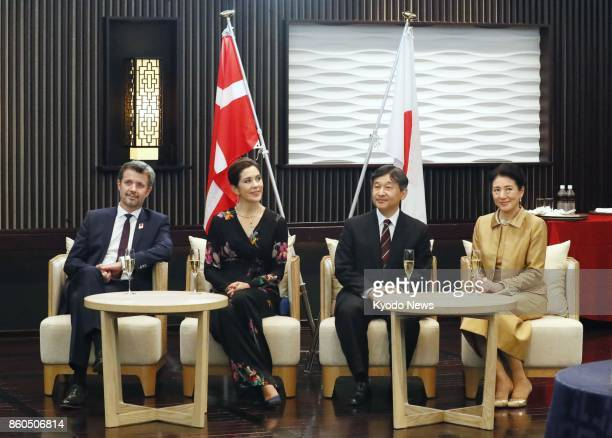 Danish Crown Prince Frederik Crown Princess Mary Japanese Crown Prince Naruhito and his wife Crown Princess Masako attend a reception in Tokyo on Oct...