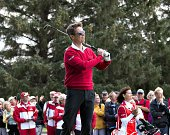 Danish Crown Prince Frederik hits a shot as he visits Himmerlands Golf Spa during the Made in Denmark European Tour Golf Tournament on August 13 2014...