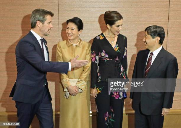 Danish Crown Prince Frederik Japanese Crown Princess Masako Danish Crown Princess Mary Japanese Crown Prince Naruhito prepare to pose for photos...
