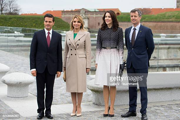 Danish Crown Prince Frederik of Denmark and Crown Princess Mary of Denmark greet Mexican President Enrique Pena Nieto and his wife Angelica Rivera...