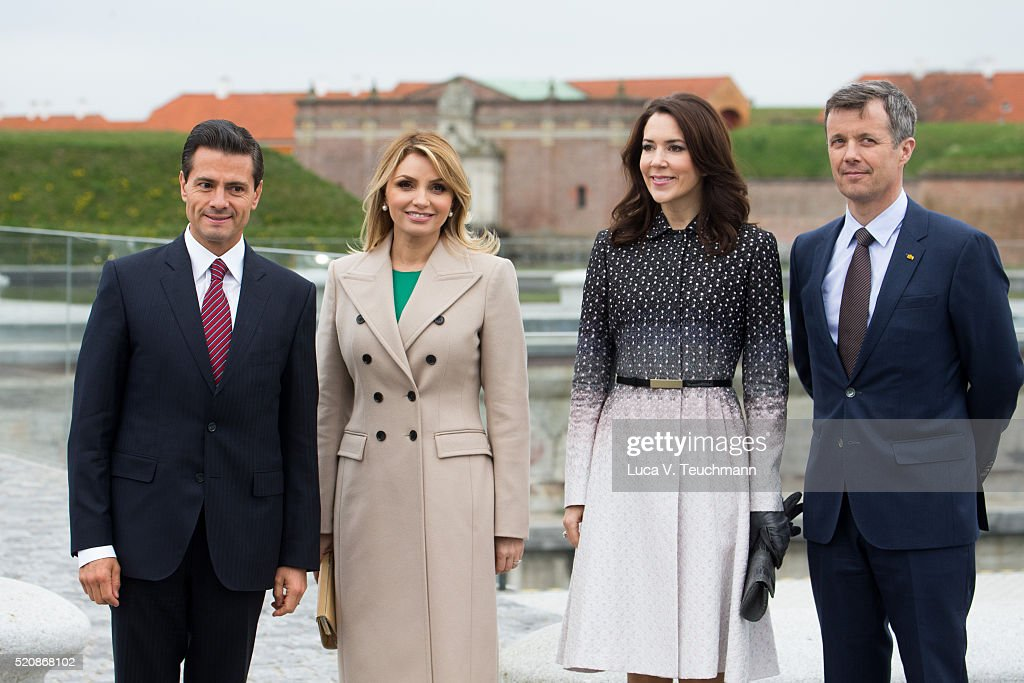Danish Crown Prince Frederik of Denmark and Crown Princess Mary of Denmark greet Mexican President Enrique Pena Nieto and his wife Angelica Rivera during a visit from the United Mexican States on April 13, 2016 in Helsingor, Denmark.