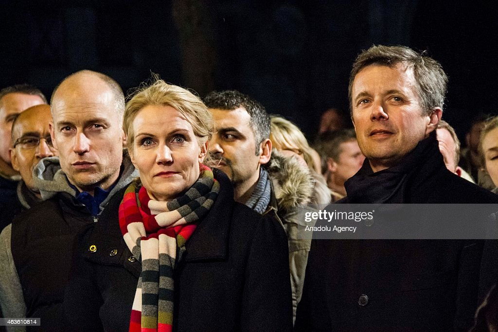 Danish Crown Prince Frederik (R), Prime Minister <a gi-track='captionPersonalityLinkClicked' href=/galleries/search?phrase=Helle+Thorning-Schmidt&family=editorial&specificpeople=2485486 ng-click='$event.stopPropagation()'>Helle Thorning-Schmidt</a> and her husband Stephen Kinnock (L) attend a memorial service for the shooting victims near Krudtoenden where the first shooting took place, in Copenhagen, Denmark, on February 16, 2015.